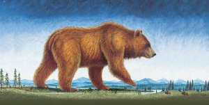 Image of Monte Dolack's license plate painting of grizzly bear.