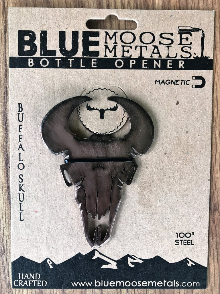 Bison skull bottle opener