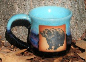 Handmade black/light blue mugs with grizzly bear art