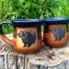 Handmade brown/dark blue mugs with grizzly bear art