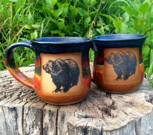 Handmade brown/dark blue mugs with grizzly bear art