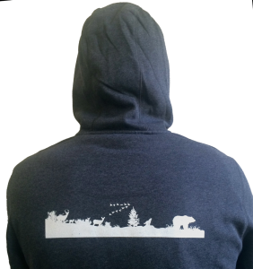 Back view of Vital Ground hooded sweatshirt
