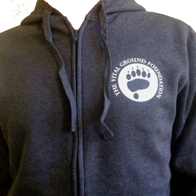 Front view of Vital Ground hooded sweatshirt