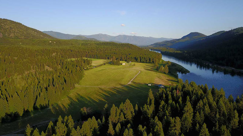 Overhead photo of Wild River property along the Kootenai River
