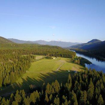 Overhead photo of Wild River property along the Kootenai River