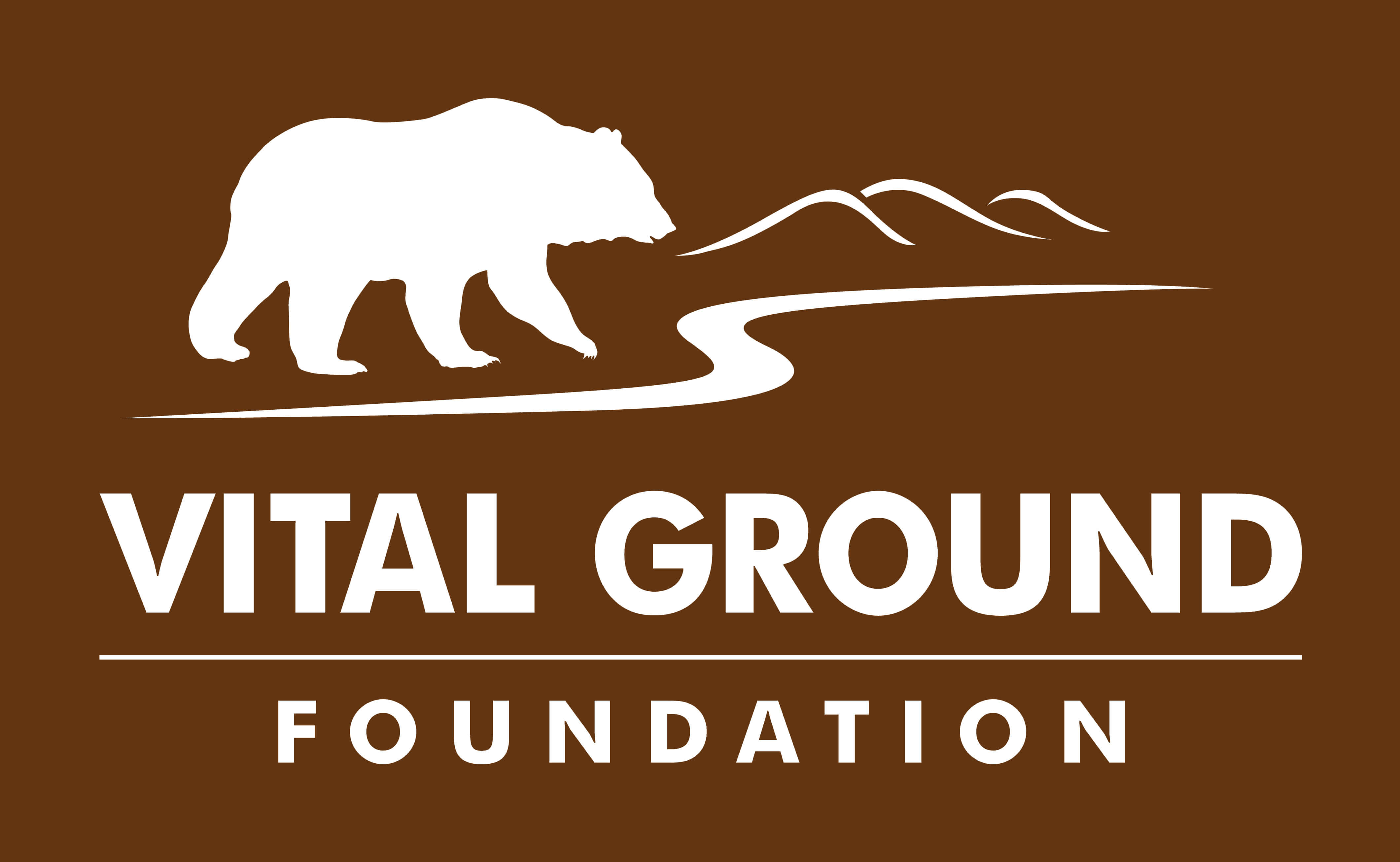 Vital Ground Connected Landscapes logo in brown and white
