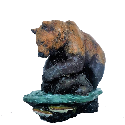 Sculpture of grizzly bear fishing
