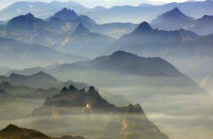 Haze hangs beneath the jagged ridges of Washington's North Cascades