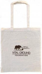 Vital Ground tote bag, off white canvas with brown logo