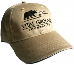 Grizzly bear Vital Ground baseball cap in tan
