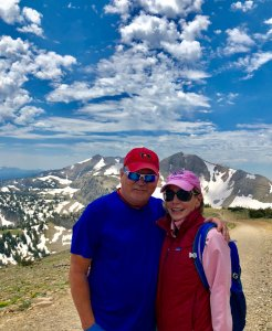 Thom and Maureen Mayer hiking in Rocky Mountains