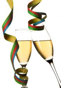 Champagne glasses with ribbons; Makea tribute gift