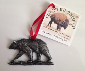 Grizzly Bear metal christmas tree ornament