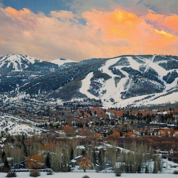 Park City, Utah beautiful mountain view at sunset