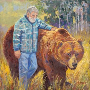 The Bond painting, giant grizzly bear and trainer, Doug Seus and Bart