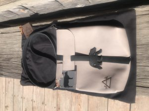 Grizzly bear grey leather crossbody bag with black leather strap