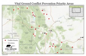 Map of conflict prevention priority sites in Montana and Idaho