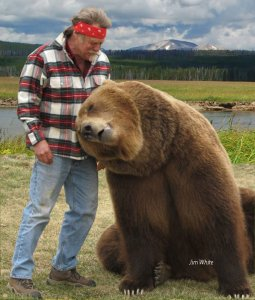 Giant Grizzly bear with trainer, Doug Seus Bart the Bear