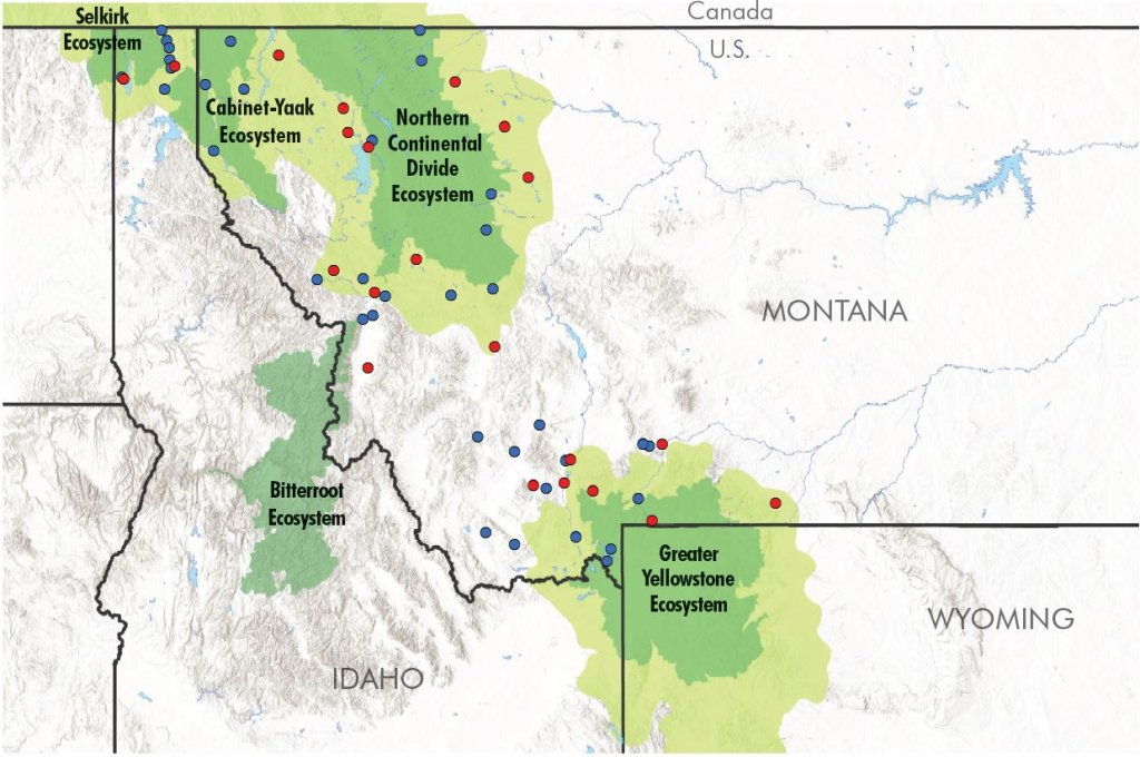 Map with areas of priority for land easements in Montana and Idaho