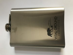 Vital Ground flask, silver with Vital Ground grizzly bear logo