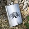 Vital Ground flask, silver with grizzly bear etching