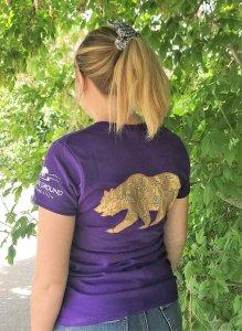Purple women's grizzly bear t-shirt