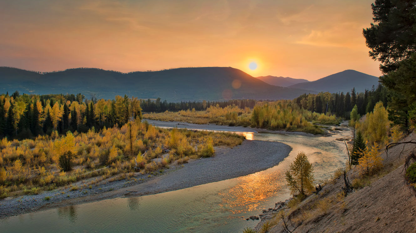 North Fork Flathead River sunset west of Glacier National Park Montana