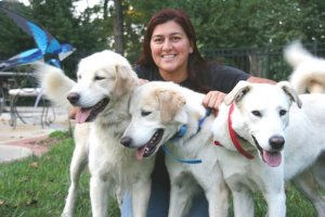 Banu Qureshi and dogs