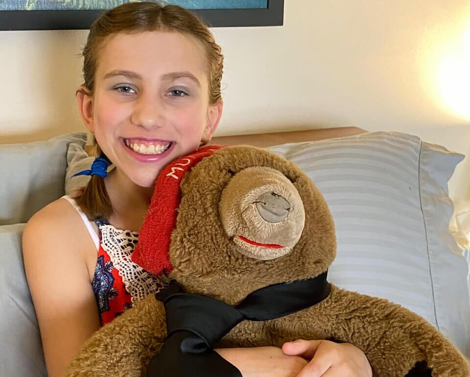 Kloe and Murray, her stuffed grizzly