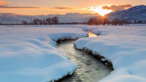 winter river at sunset